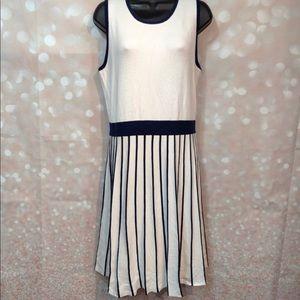 41 Hawthorn Stitch Fix White Navy Striped Dress XL